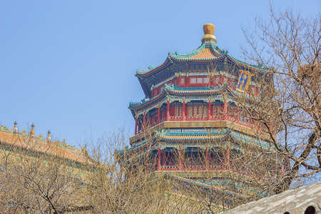 Looking up at the Tower of Buddhist Incense through some naked branches, in the Summer Palace 写真素材