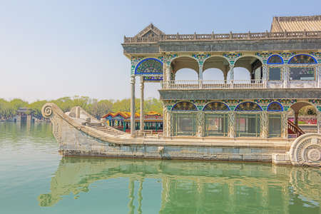 Side view of the Marble Boat on the Kunming Lake, in the Summer Palace