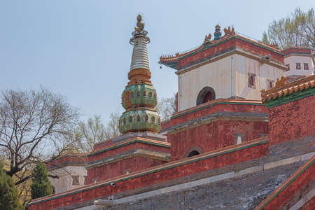 Upper structure of the Sumeru Temple on Longevity Hill, in the Summer Palace 免版税图像