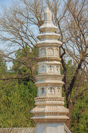 Stone column in front of the Sumeru Temple on Longevity Hill, in the Summer Palace