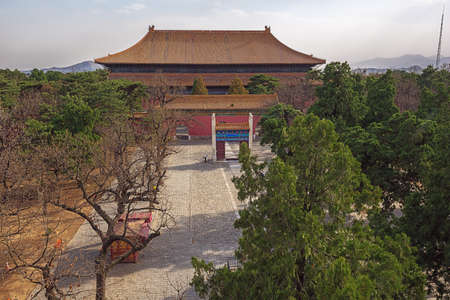 Looking down at the Ling Xing gate and the Lingen Hall at the Ming Graves