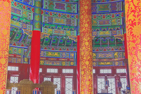 Inside view of the Hall of Prayers for Good Harvests, seen from the gate 写真素材