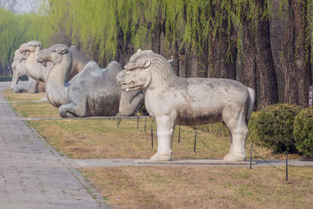 Animal statues along the Sacred Road to the Ming Graves
