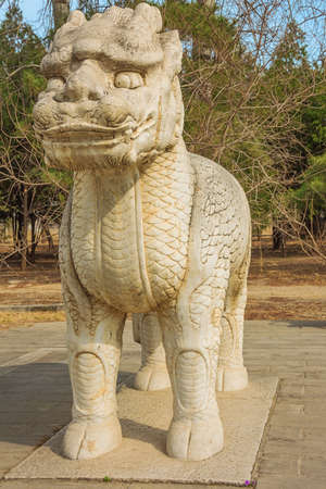 Statue of a standing Xiezhi on the Sacred Road to the Ming Graves
