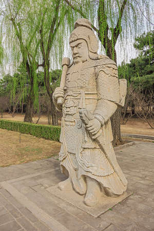 Statue of an officer along the Sacred Road to the Ming Graves 写真素材