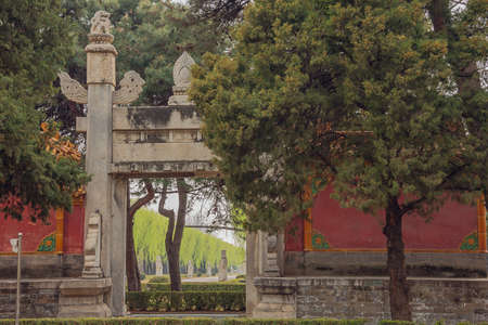 Looking through the Dragon-Phoenix gate on the Sacred Road to the Ming Graves