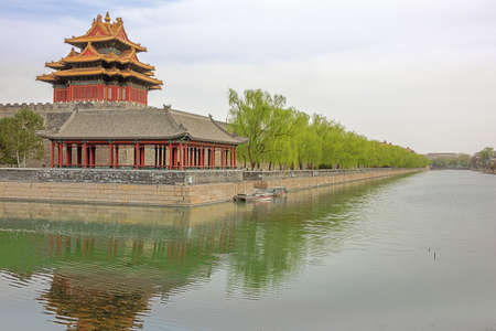 Moat and watchtower west of the Forbidden City in Beijing 写真素材