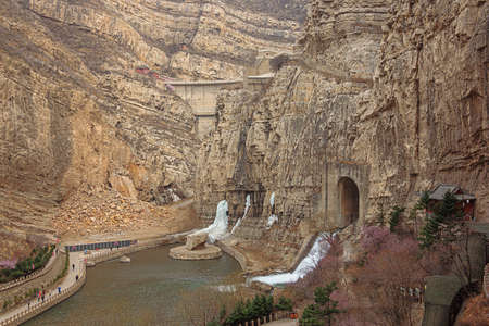 View of the dam overflow next to the Hanging Temple near Datong