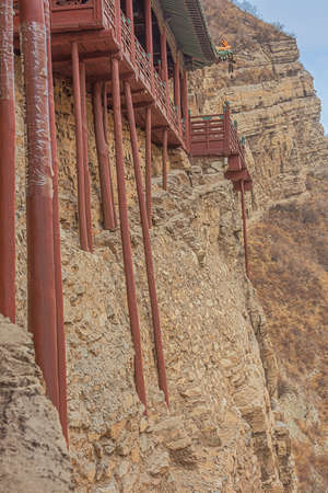 Detail of the base of the supporting poles of the Hanging Temple near Datong