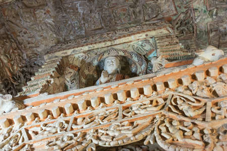 Looking up at the ceiling in cave 6 of the Yungang Grottoes near Datong