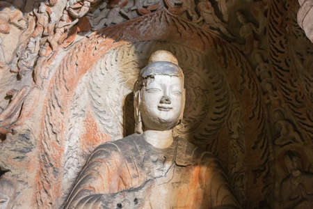 Buddha statue in cave 6 of the Yungang Grottoes near Datong Stockfoto