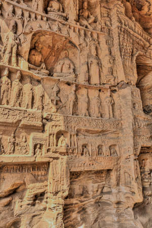 Weathered figurines in cave 14 of the Yungang Grottoes near Datong