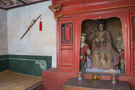 View of a Buddha statue inside the Hanging Temple near Datong
