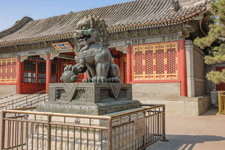 Bronze lion in the Summer Palace, the former imperial garden