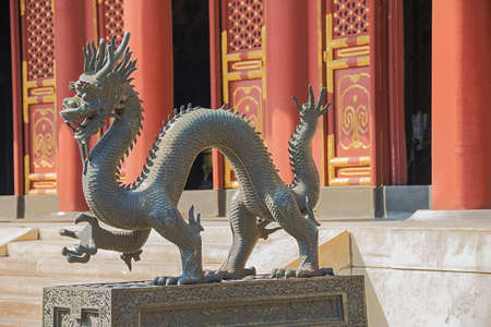 Close up of a bronze dragon at the Summer Palace, the former imperial garden