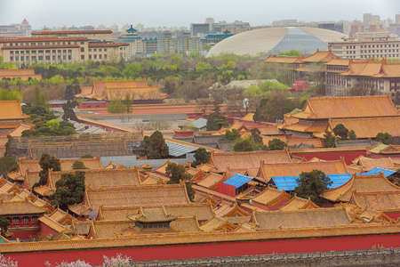 Overview of western part the Forbidden City, seen from the Jingshan Park in Beijing 報道画像