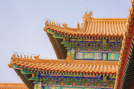 Imperial roof decoration on a on the gate of Supreme Harmony in the Forbidden City in Beijing
