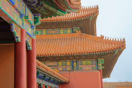 Imperial roof decoration on the side of the gate of Supreme Harmony in the Forbidden City in Beijing