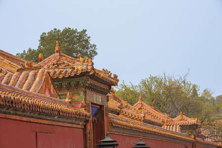 Decorated roofs in a street in the Forbidden city in Beijing
