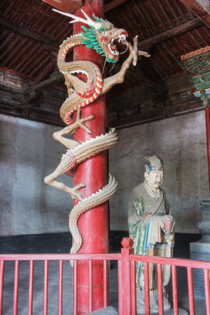 Dragon wrapped around a pole in the Jinci temple in Taiyuan