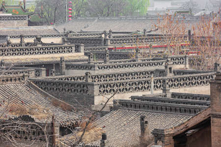 The tiled roofs in the old town of Pingyao seen from the city wall