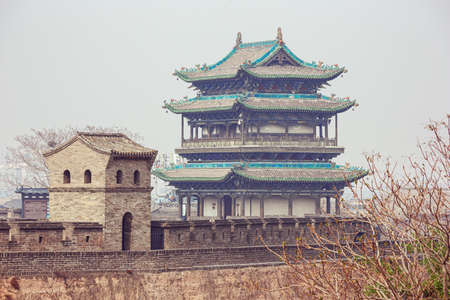Close up of a watch tower in Pingyao seen from the city wall
