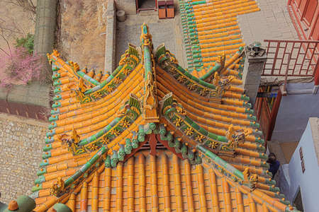 Artwork on roofs of the lower buildings of the Hanging Temple near Datong