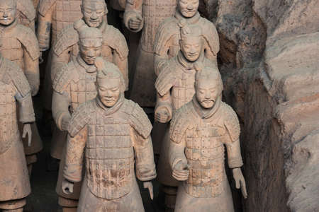 Close up of four terracotta warriors in hall 1 in Xian