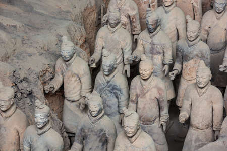Close up of two rows of terracotta warriors in hall 1 in Xi'an