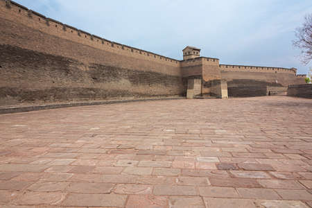 At the southern gate of the city wall in Pingyao, on the outside of the wall