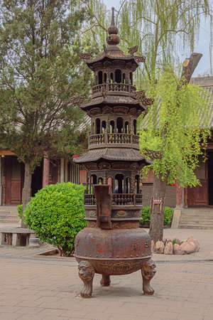 Censer in the Confucian temple complex in the old town of Pingyao