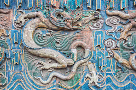 Colorful dragon on the nine dragon wall in the old town of Pingyao