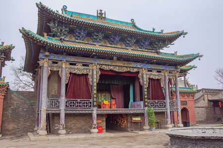 View of the theatre hall in the City God Temple in the old town of Pingyao