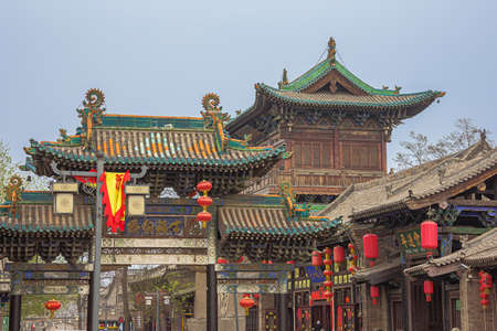 Looking up at a street gate in the old town of Pingyao