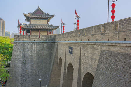 Side view of the archery tower with part of  the city wall of Xian 스톡 콘텐츠