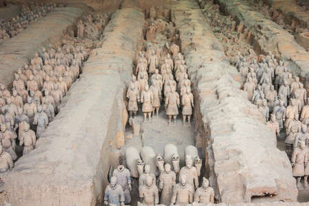 Rows of terracotta warriors in hall 1 in Xi'an