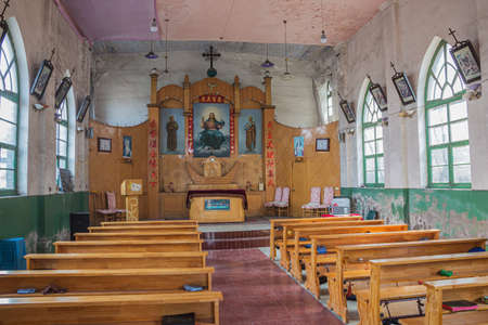 View inside the Catholic church of Pingyao seen from the entrance door