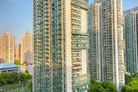 Close up of apartment buildings in Shanghai Stockfoto