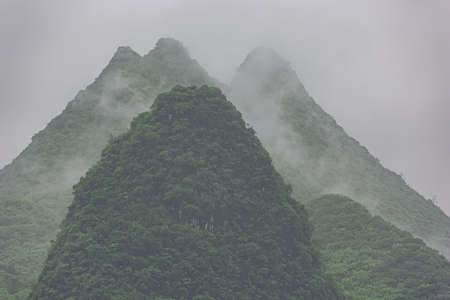 Close up of conical hills near Yangshuo on the Li River near Guilin