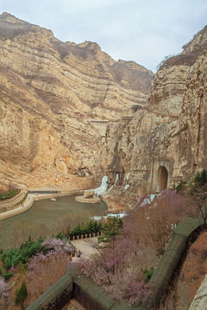 Looking towards the dam overflow next to the Hanging Temple near Datong Stock fotó
