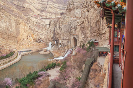 The dam overflow and the valley next to the Hanging Temple near Datong
