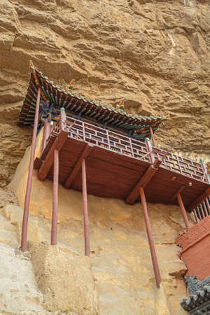 Pillars supporting the construction of the Hanging Temple near Datong Stock fotó