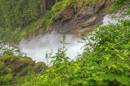 View of the Krimml Waterfalls from the Jagasprung on the path to the upper part of the waterfall 版權商用圖片