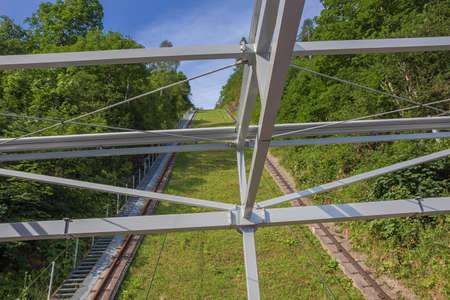 Climbing the slope of the Larchenwandlift on board of the incline elevator Reklamní fotografie