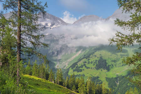 View into the Fuscher Tal at Piffkar while ascending the Grossglockner High Alpine Road