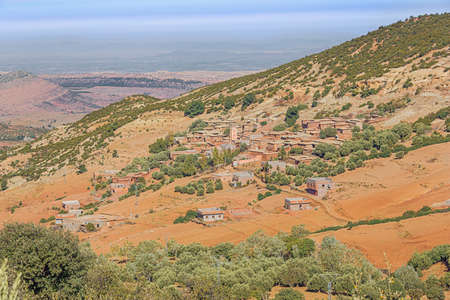 Close up of a small village in the area of Douar Ait-Imgeur in the foothills north of the Atlas between Marrakech and Ouarzazate