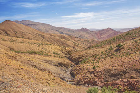 Dried out river bed in the mountains on the Tizi n'Tichka pass on road 9 from Marrakech to Ouarzazate