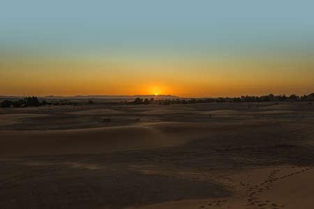 Sunset over the sand dunes of Erg Chebbi