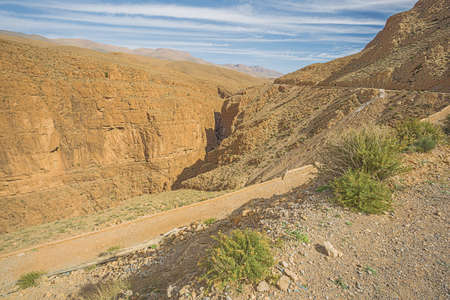 View of the narrow section of the Dades Gorges near the highest point of the road 스톡 콘텐츠