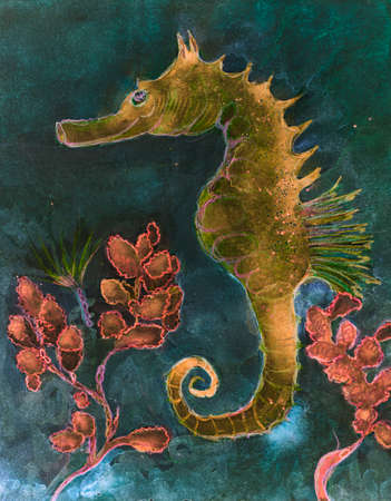Decorative seahorse with turquoise background. The dabbing technique near the edges gives a soft focus effect due to the altered surface roughness of the paper.